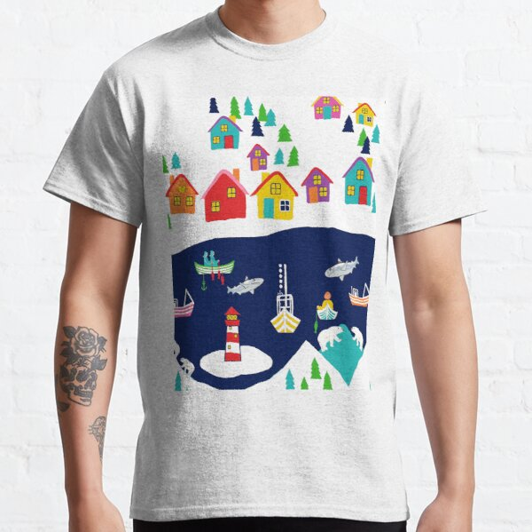 Scandinavian fishing village, nordic rainbow village Classic T-Shirt