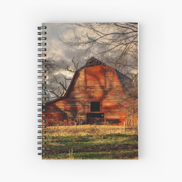 Red Barn - Rustic Old Barn on Late Autumn Day in Oklahoma Spiral Notebook