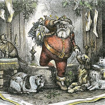 Vintage Santa Claus art with pets by Geekimpact
