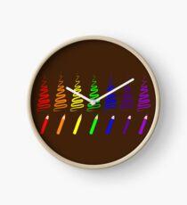 Rainbow Pencil Coloring Trees Clock