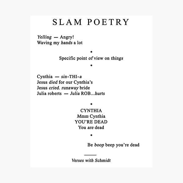 Cynthia Slam Poetry - 22 Jump Street Photographic Print