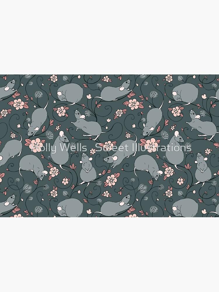 Floral Rat Dark Grey and Pink by ArtSweeties