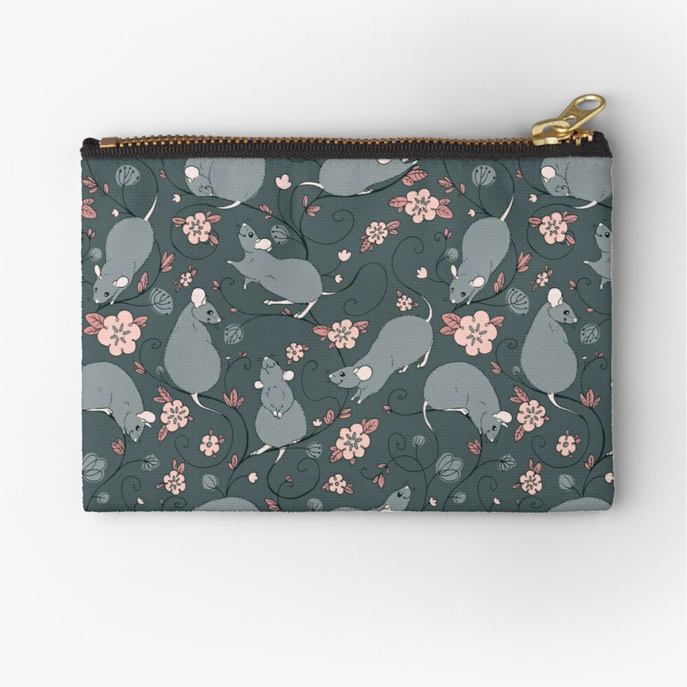 Floral Rat Dark Grey and Pink Zipper Pouch
