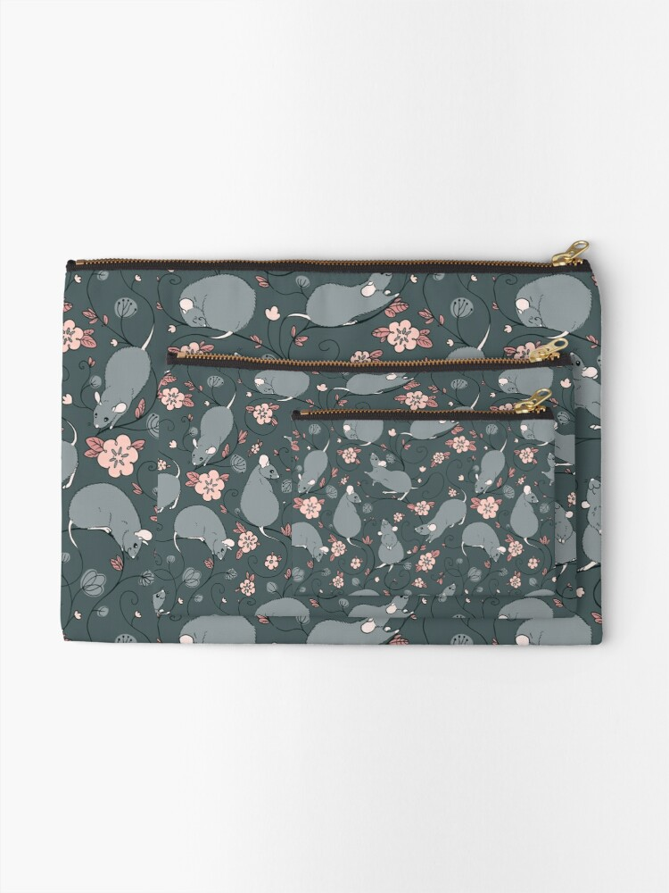 Alternate view of Floral Rat Dark Grey and Pink Zipper Pouch