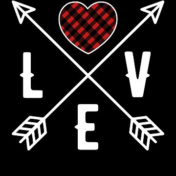 Red Plaid Heart With Love Cross Arrows! Valentine Gift by MikeMcGreg