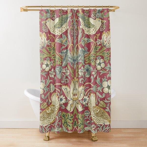 William Morris Strawberry Thief Red Shower Curtain