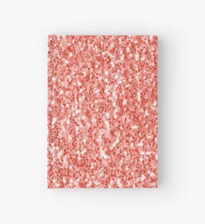 Living coral dark glitter sparkles Hardcover Journal