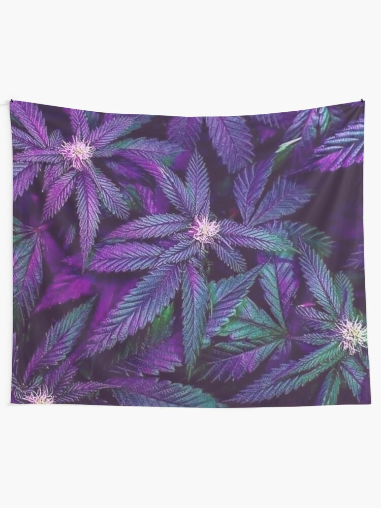 Alternate view of Psychedelic Purple Cannabis Marijuana Weed Pot Leaves Tapestry