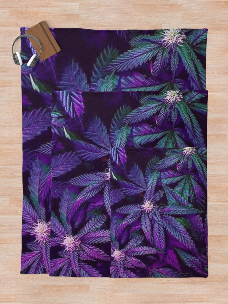 Alternate view of Psychedelic Purple Cannabis Marijuana Weed Pot Leaves Throw Blanket