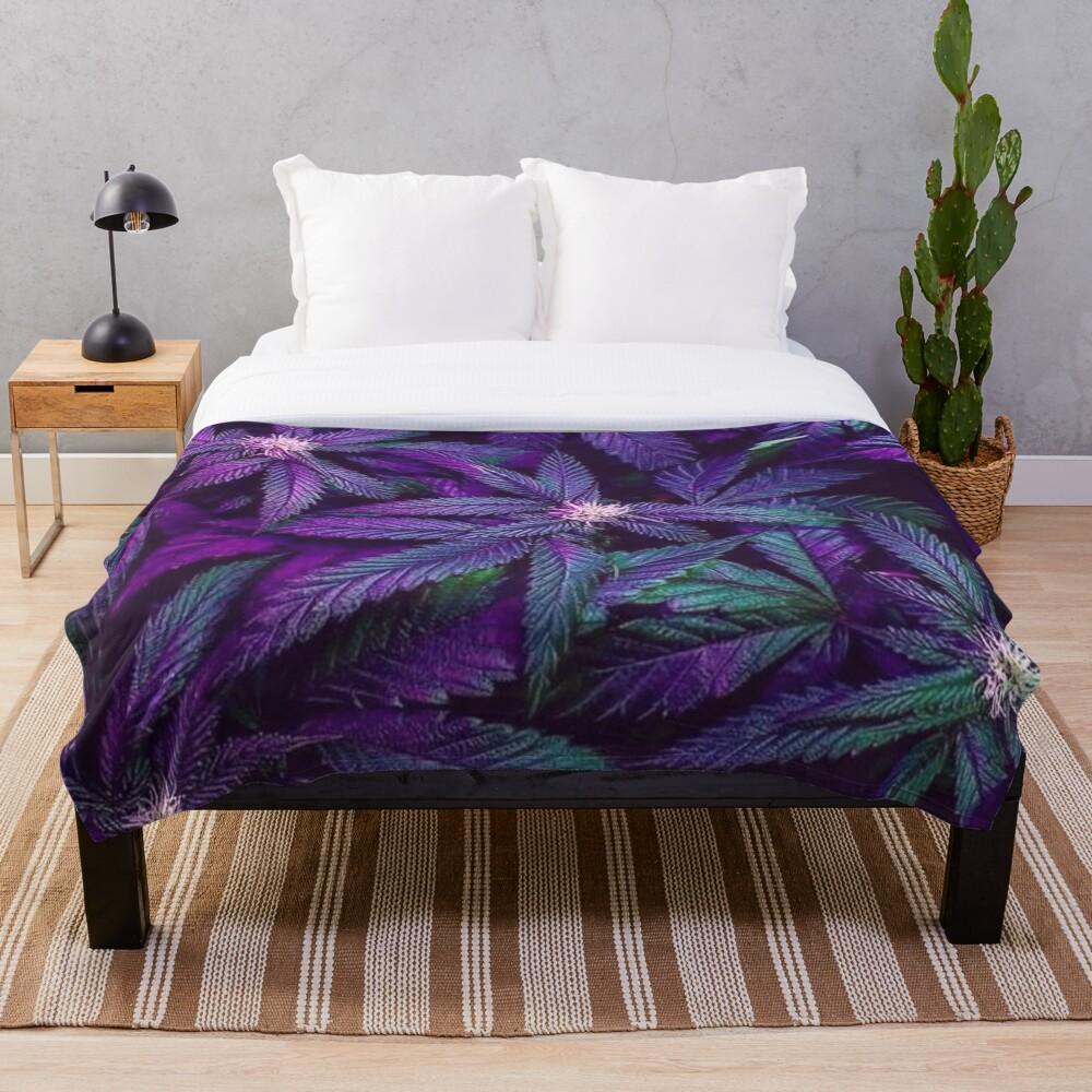 Psychedelic Purple Cannabis Marijuana Weed Pot Leaves Throw Blanket
