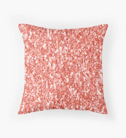 Living coral dark glitter sparkles Throw Pillow