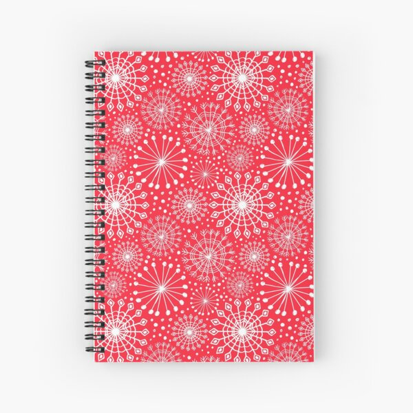 Holiday snowflakes on red seamless repeat pattern Spiral Notebook