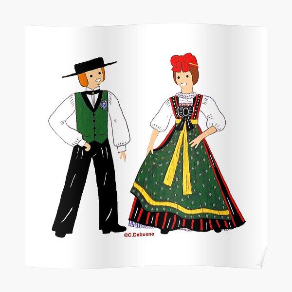 Costume de SEEBACH, Alsace, France Poster