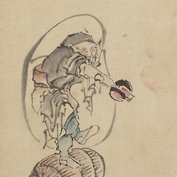 Hotei the God of Good Fortune - Hokusai Katsushika - 1850 by CrankyOldDude