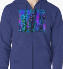 Abstract Art Floral Zipped Hoodie