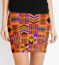 Kente Cloth // Persimmon & Red-Orange  Mini Skirt