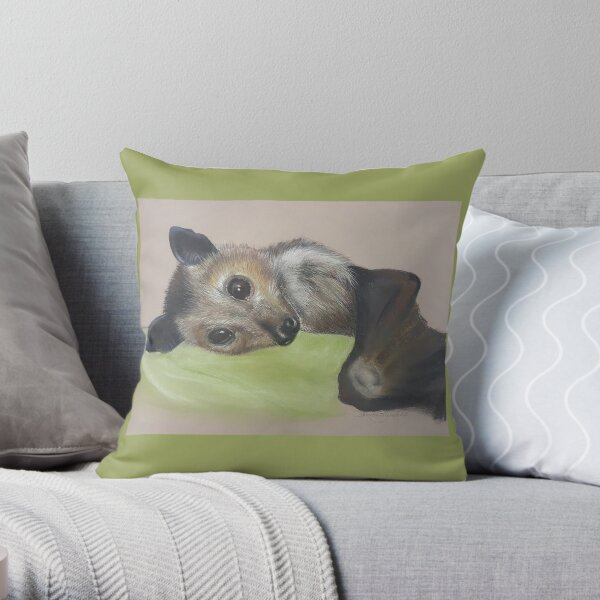 Batzilla - Safely Resting by Louise Saunders  Throw Pillow