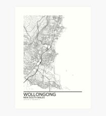Wollongong map poster print wall art, New South Wales gift printable, Home and Nursery, Modern map decor for office, Map Art, Map Gifts Art Print