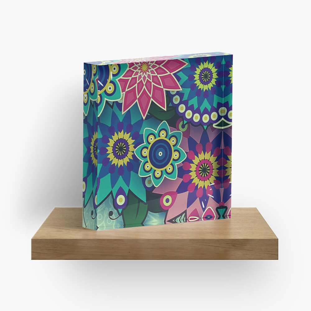 Wild Flower Power Psychedelic Fantasy Print Acrylic Block