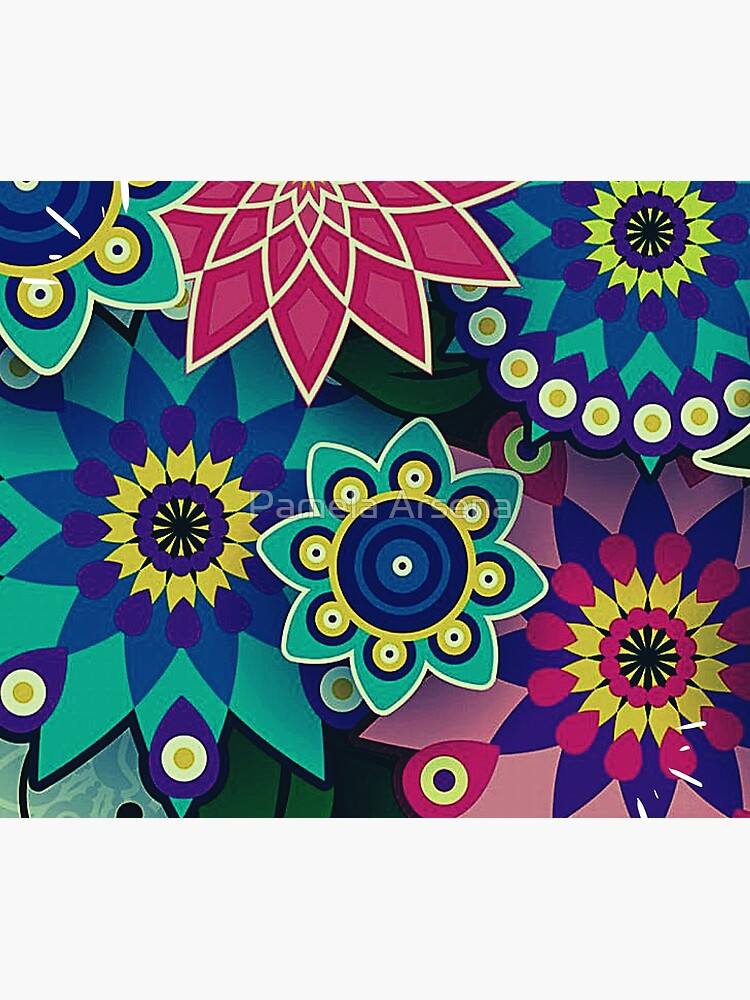 Psychedelic Wildflowers and Kaleidoscopes Print  by xpressio