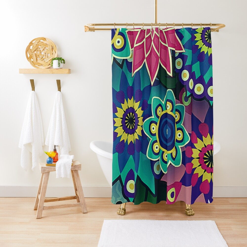 Psychedelic Wildflowers and Kaleidoscopes Print  Shower Curtain