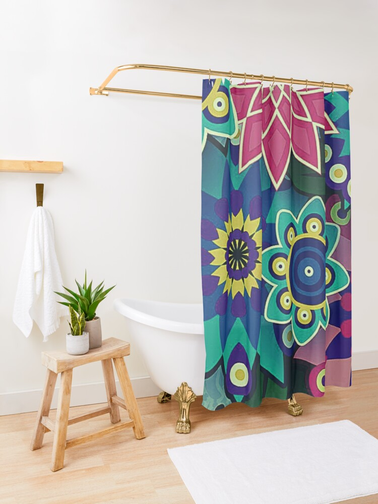 Alternate view of Psychedelic Wildflowers and Kaleidoscopes Print  Shower Curtain