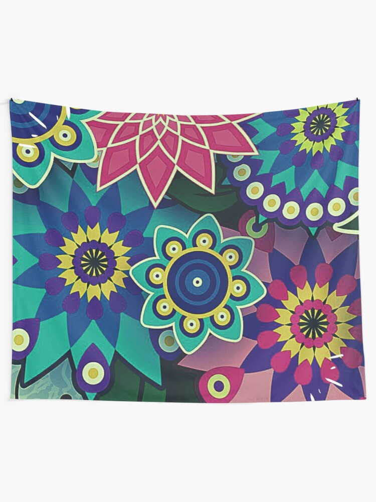 Alternate view of Psychedelic Wildflowers and Kaleidoscopes Print  Tapestry