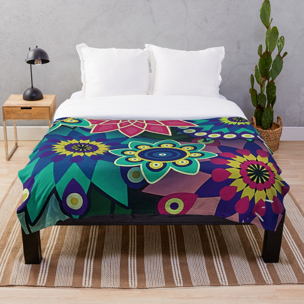 Psychedelic Wildflowers and Kaleidoscopes Print  Throw Blanket