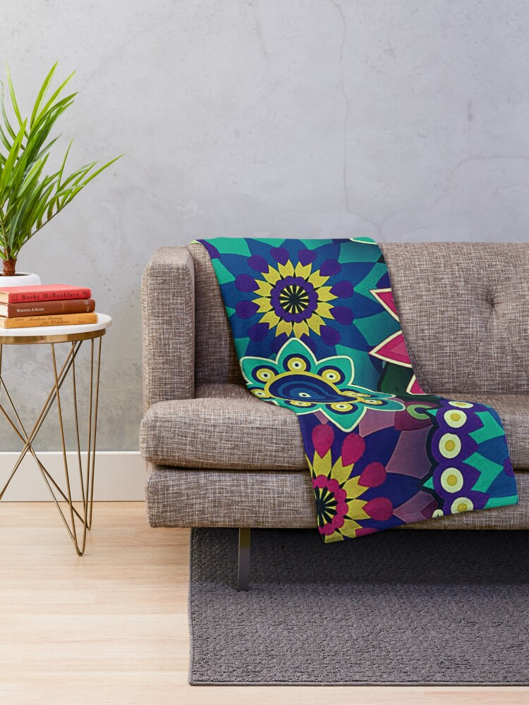Alternate view of Psychedelic Wildflowers and Kaleidoscopes Print  Throw Blanket