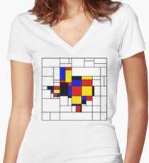 Texas du Mondrian Women's Fitted V-Neck T-Shirt