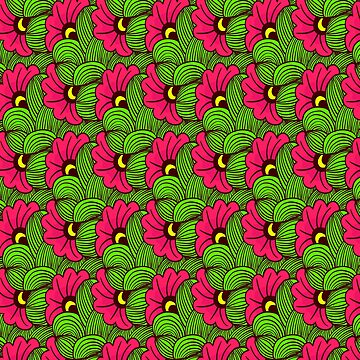 African pink and green floral pattern by hypnotzd