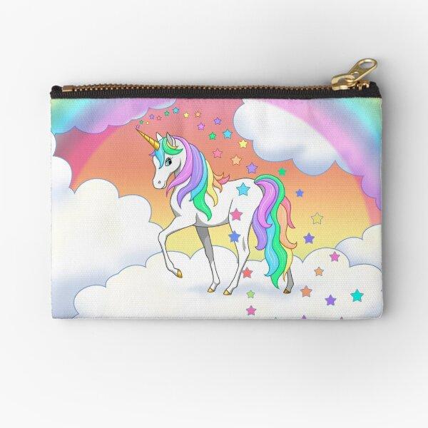 Pretty Rainbow Unicorn Clouds Colorful Falling Stars Zipper Pouch