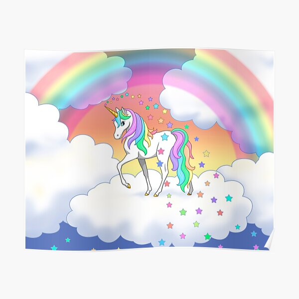 Pretty Rainbow Unicorn Clouds Colorful Falling Stars Poster
