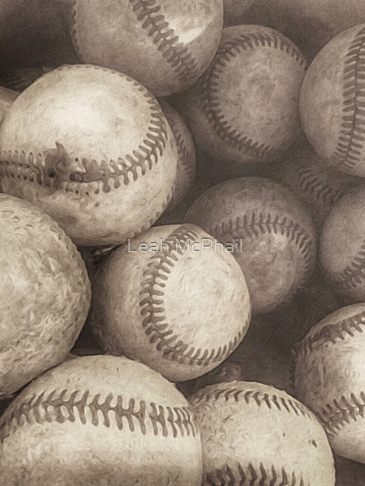 Bucket of Old Baseballs in Sepia  by LeahMcPhail