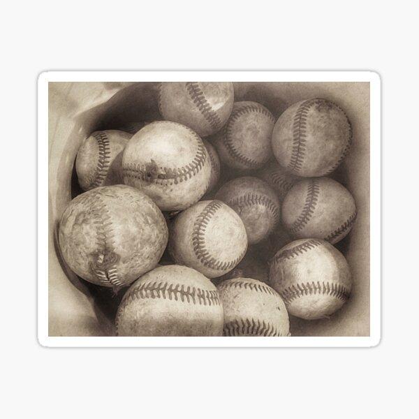 Bucket of Old Baseballs in Sepia  Sticker