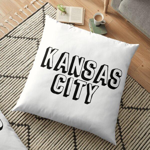 Comic Kansas City Block - Black Floor Pillow