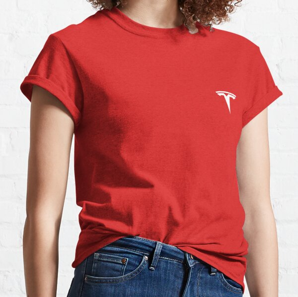 Tesla Logo White/Red T-Shirt , Phone Case, Sticker Classic T-Shirt