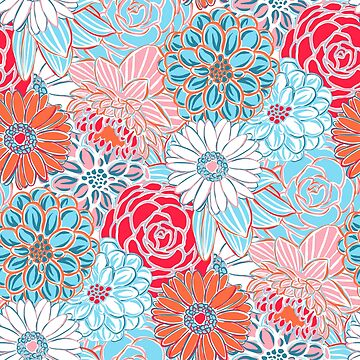 Blue Orange and Pink Preppy Floral Pattern by JillLouise