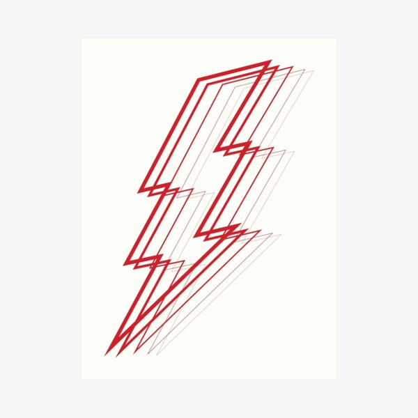 Red Lightning Art Print