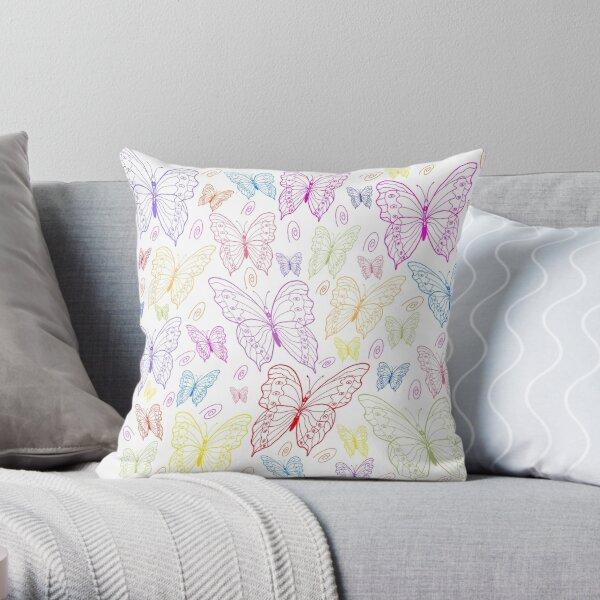 Colourfield of Butterflies Large Motifs Throw Pillow