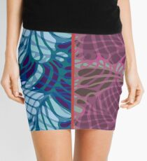 Blue and Purple Abstract Mini Skirt