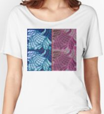 Blue and Purple Abstract Relaxed Fit T-Shirt
