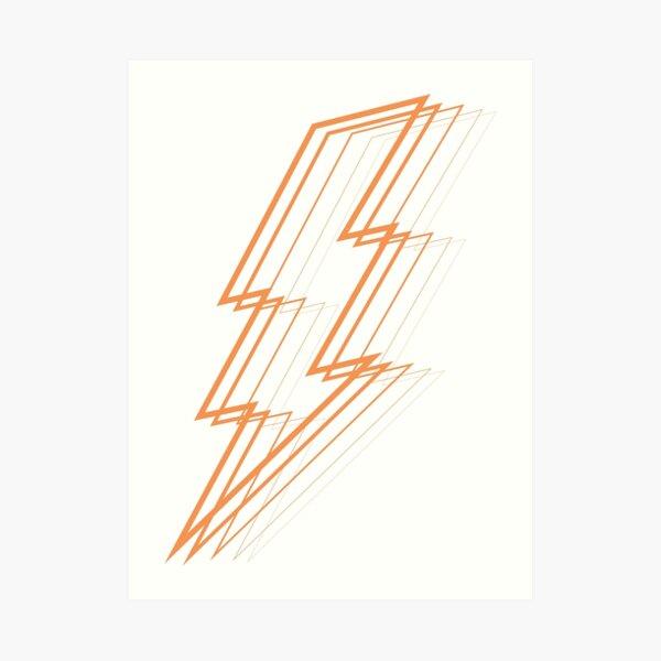 Orange Lightning Art Print