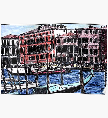 Canal Traffic in Venice Italy Poster