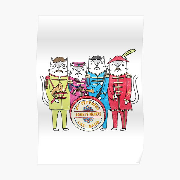 SGT Peppurr's Lonely Hearts Cats Band Poster