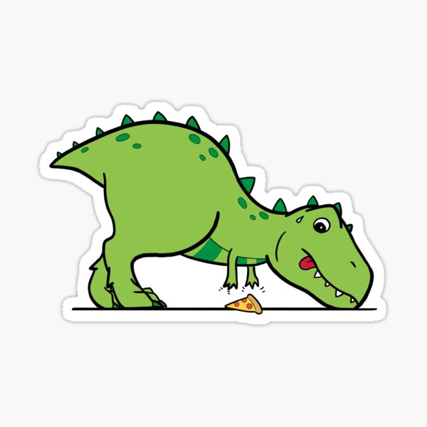 cute t-rex reaching for pizza Sticker