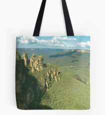 Three Sisters rock formation in Blue mountains , Australia Tote Bag