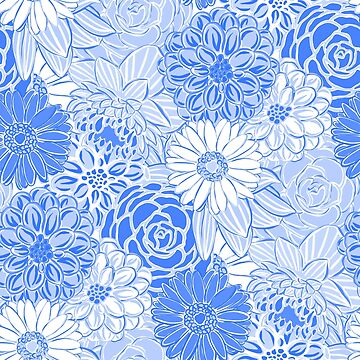 Preppy Blue and White Floral Pattern by JillLouise