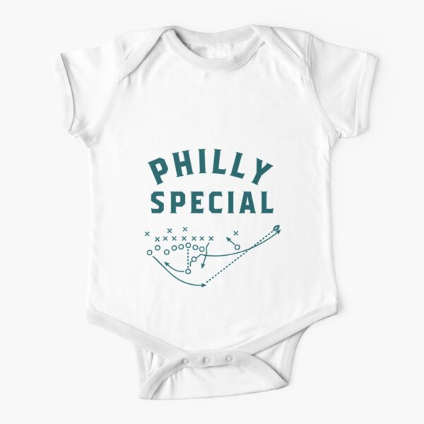 The philly BOLD team colors text Short Sleeve Baby One-Piece