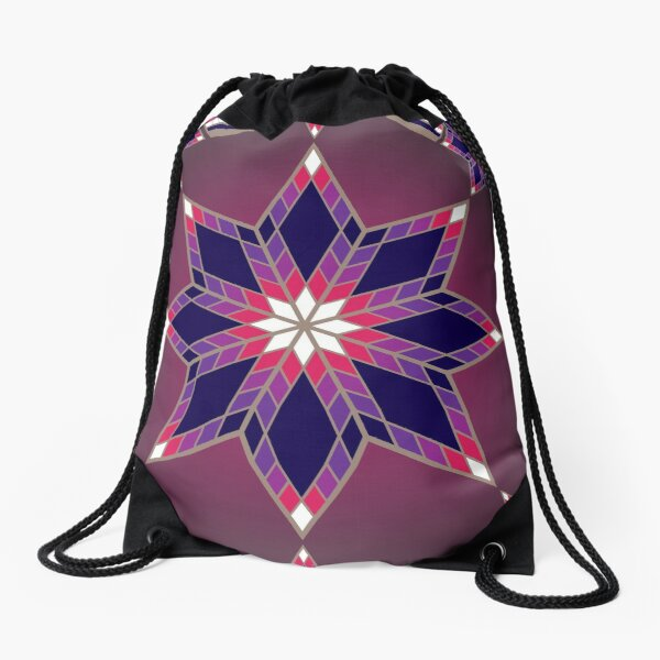 Morning Star Circle (Purple) Drawstring Bag